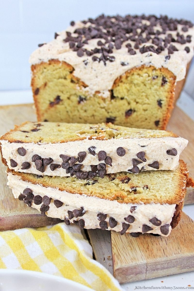 Chocolate Chip Coffee Bread sliced into pieces.