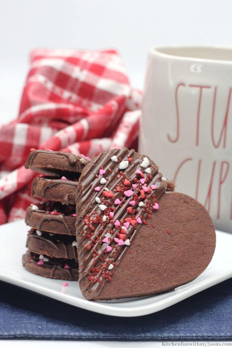 Chocolate Heart Shortbread Cookies stacked on top of each other.