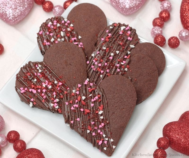 Chocolate Heart Shortbread Cookies on a square serving plate.