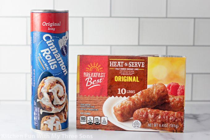 ingredients to make Cinnamon Roll Wrapped Breakfast Sausage