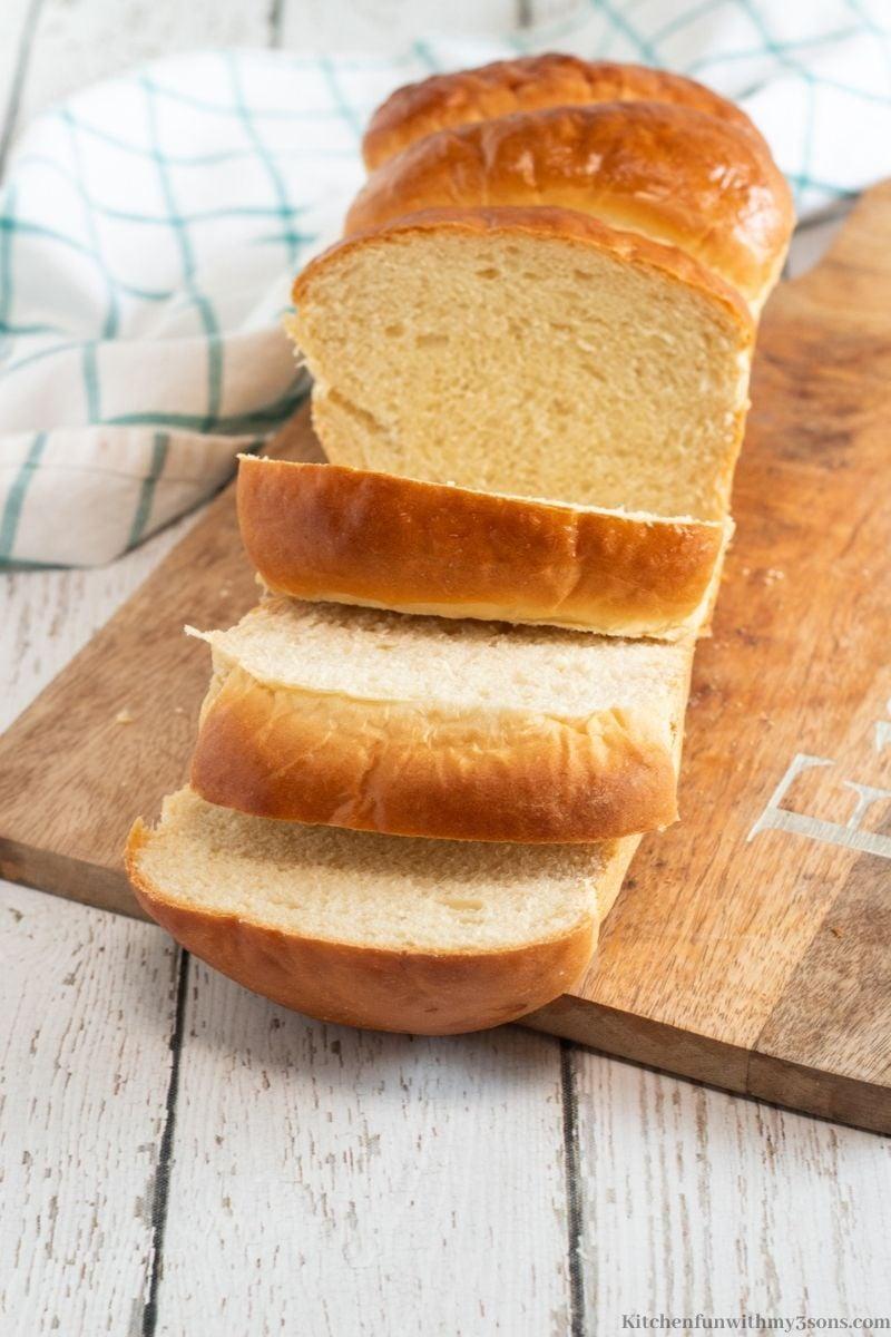 The Milk Bread cut into serving slices.