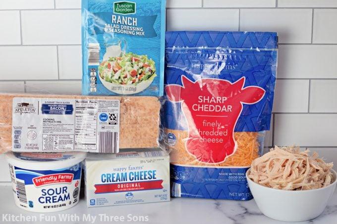 ingredients to make Crack Chicken Bacon Dip
