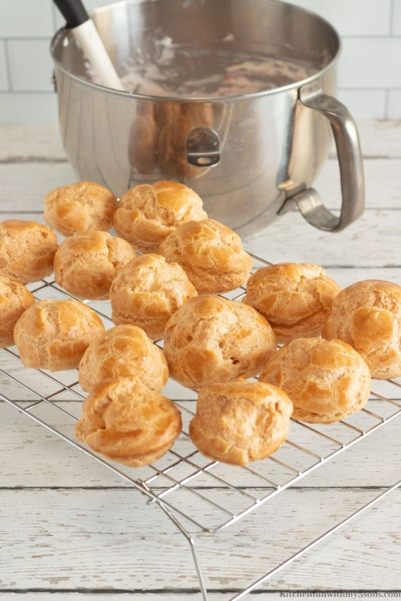 The baked puff pastry's on a wire rack.