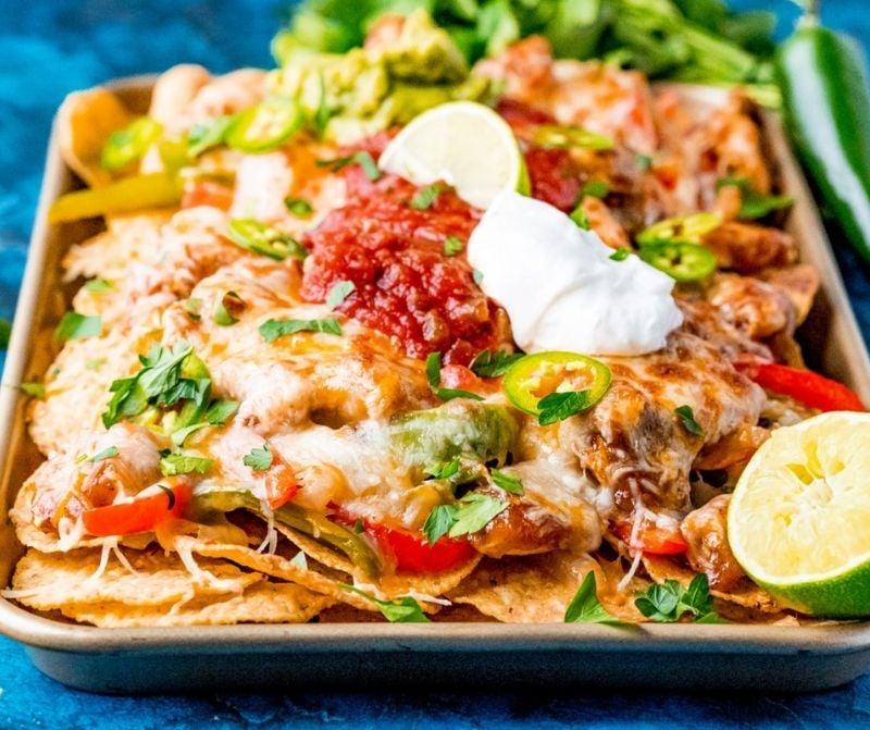 The fajita nachos on a baking sheet.