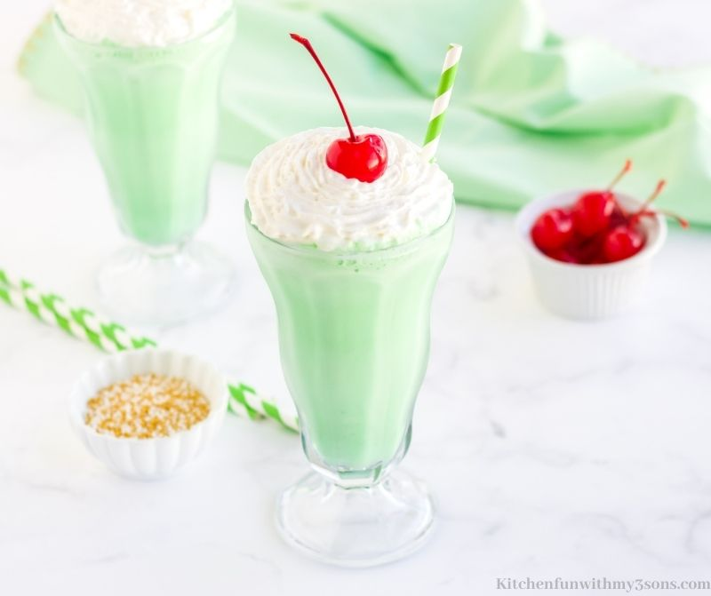 The shake in a tall serving glass.