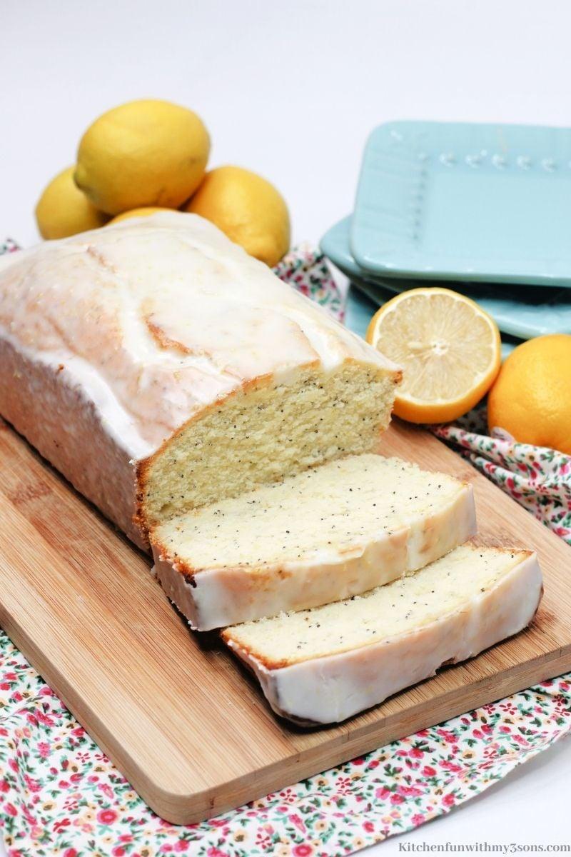 Lemon Poppy Seed Bread with extra lemons around it.