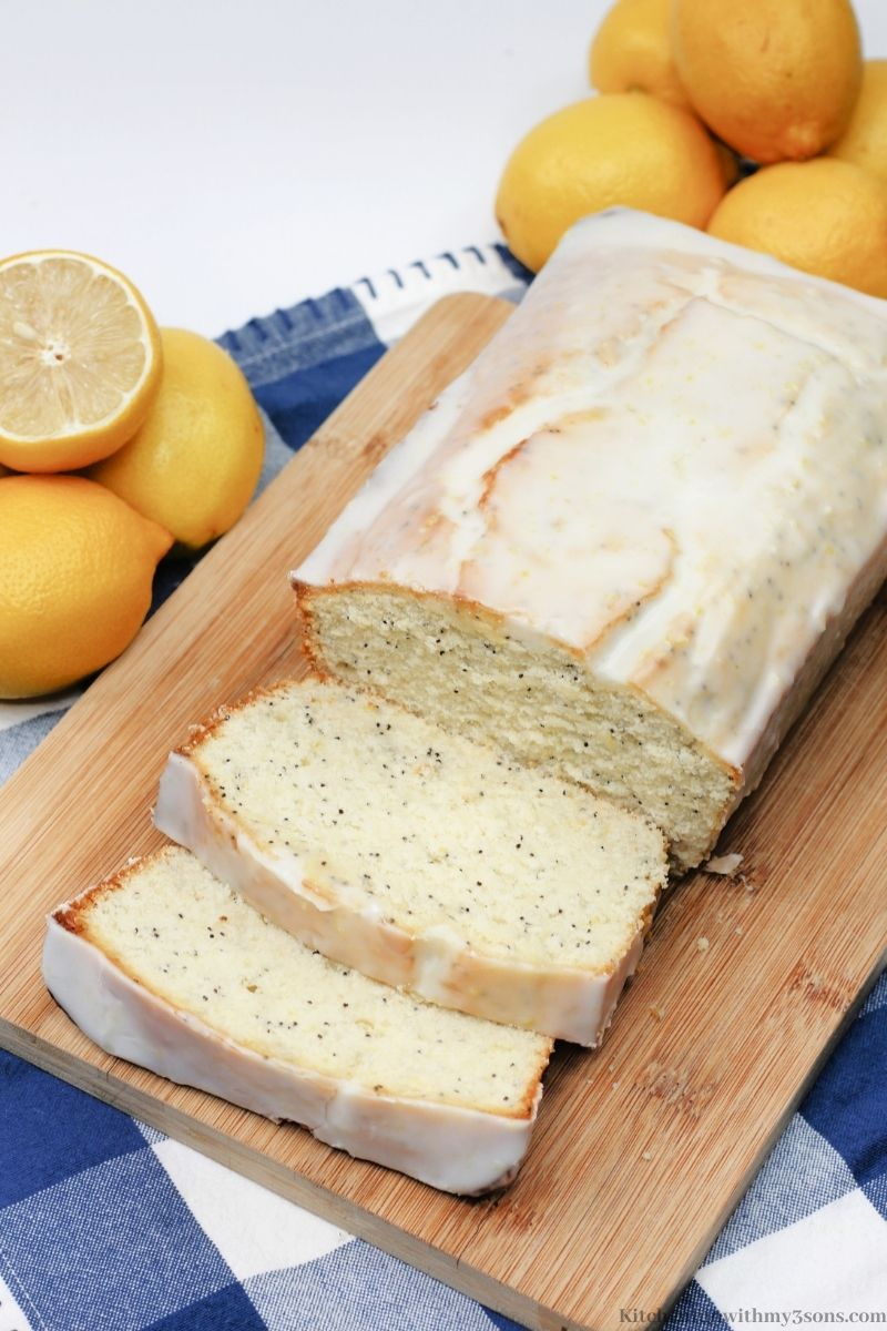 Lemon Poppy Seed Bread on a white and blue flannel cloth.