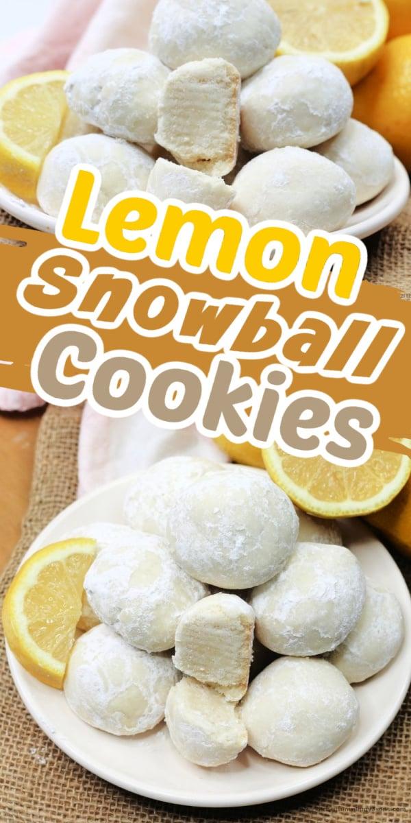 lemon snowball cookies pinterest image