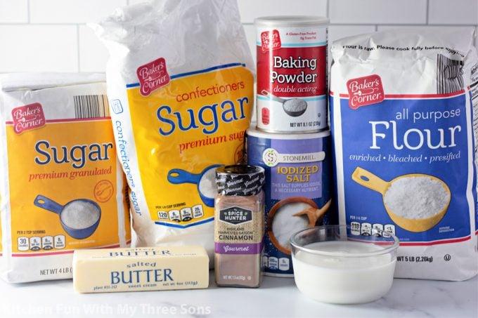 ingredients to make Microwave Cinnamon Roll
