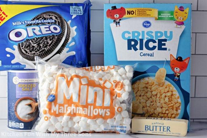 ingredients to make Oreo Rice Krispie Treats