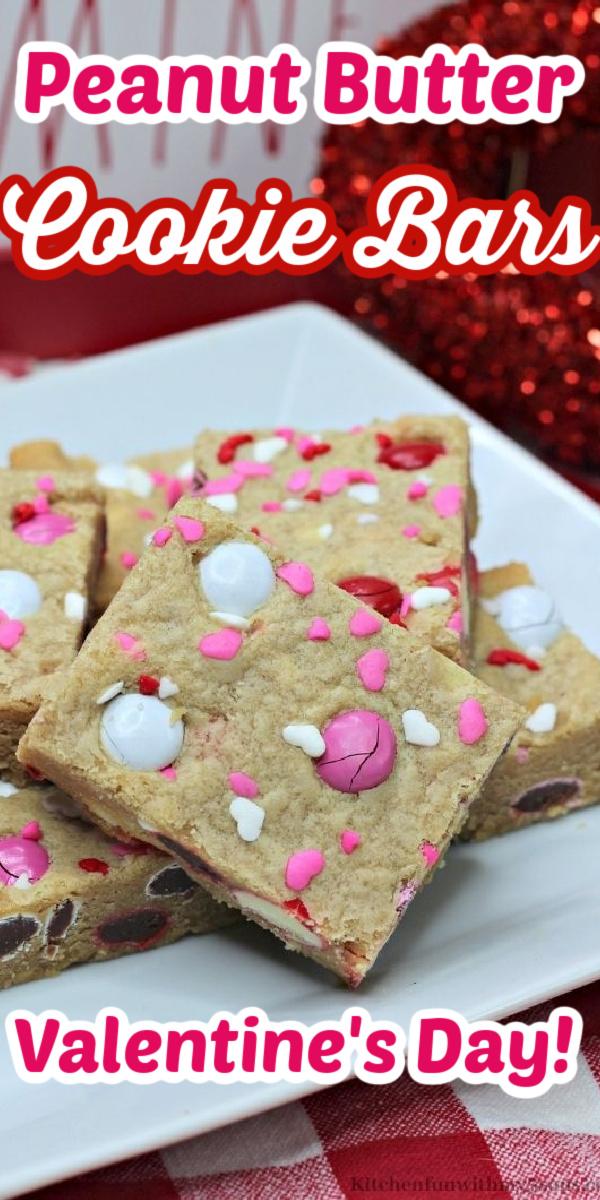Valentine Peanut Butter Cookie Bars