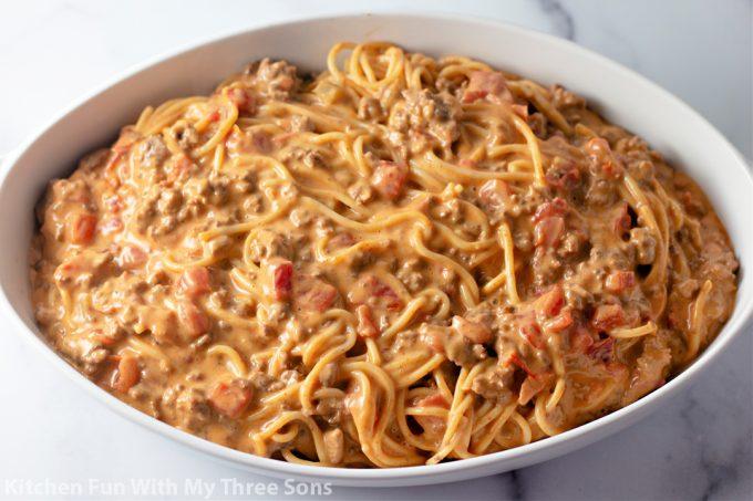 Cheesy Taco Spaghetti in a baking dish