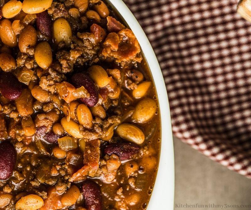 Cowboy beans in a bowl.