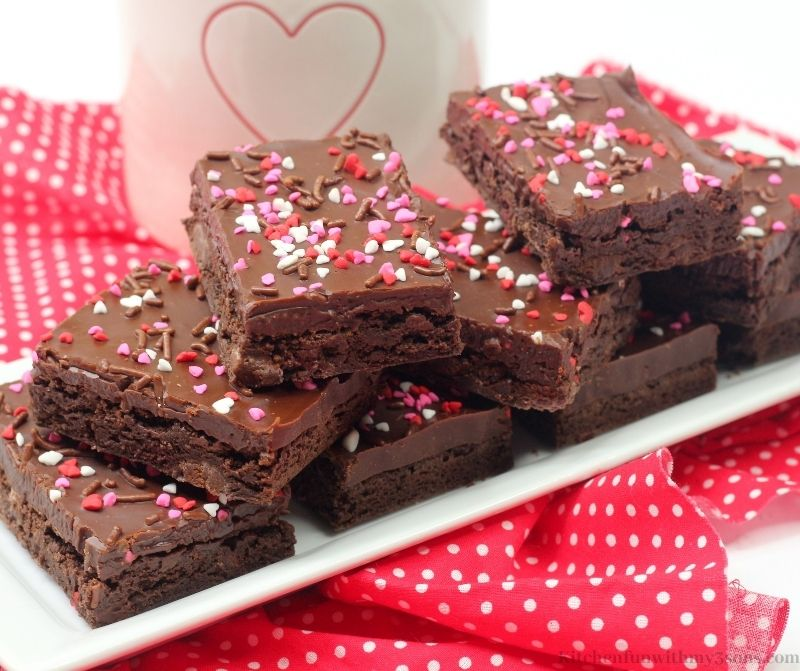 Valentine's Day Brownies on a white serving plate.