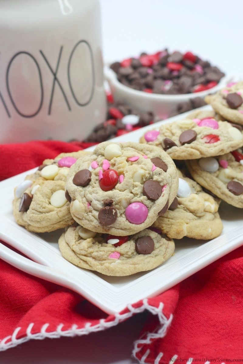 Valentine's Day Chocolate Chip Cookies on a red blanket.