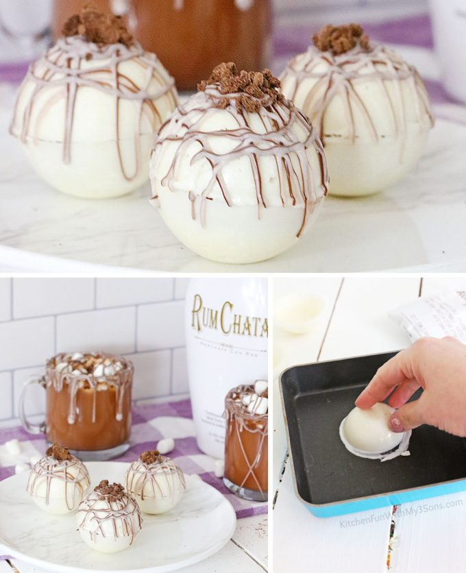 Rumchata Hot Cocoa Bombs on a white plate and a hand melting the chocolate on a skillet.