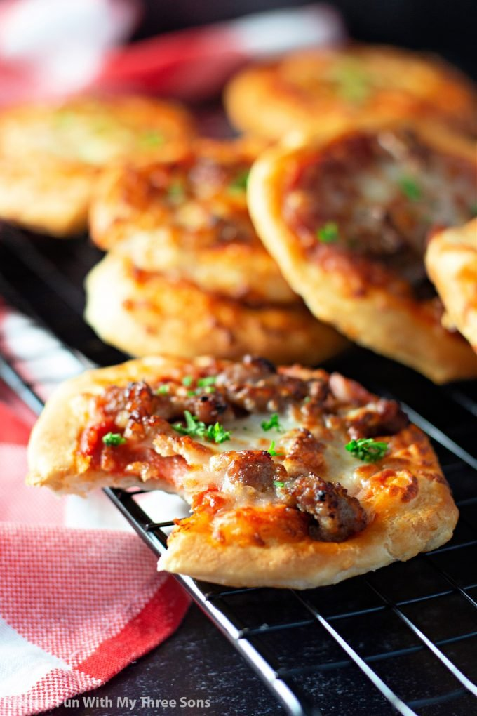 Easy Air Fryer Pizzas with a bite missing.