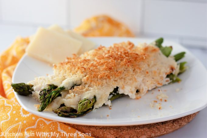 Baked Asparagus Casserole on a white plate.