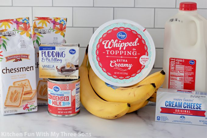 ingredients to make The Best Banana Pudding Recipe.