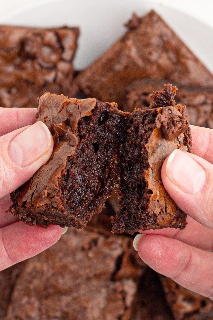 Inside of a fudge brownie
