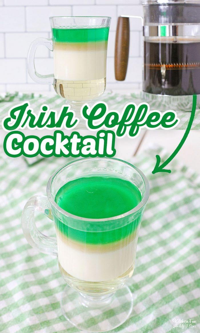 Irish Coffee Cocktail is a great drink for St. Patrick's Day. It's got a sweet Irish cream base, layered with coffee and green whisky.
