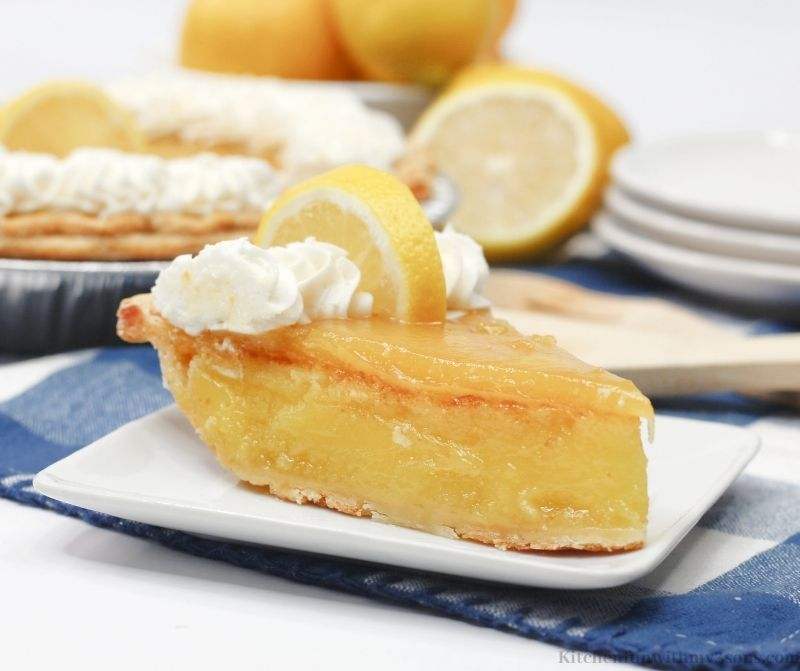 The lemon chess pie on a serving plate.