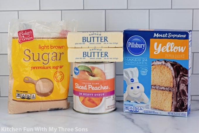 ingredients to make Easy Peach Dump Cake.