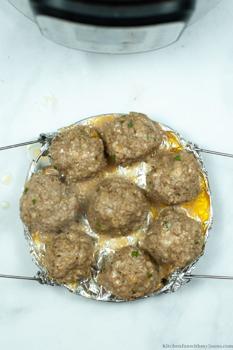 The finished meatballs taken out of the Instant Pot ready to be sauced.