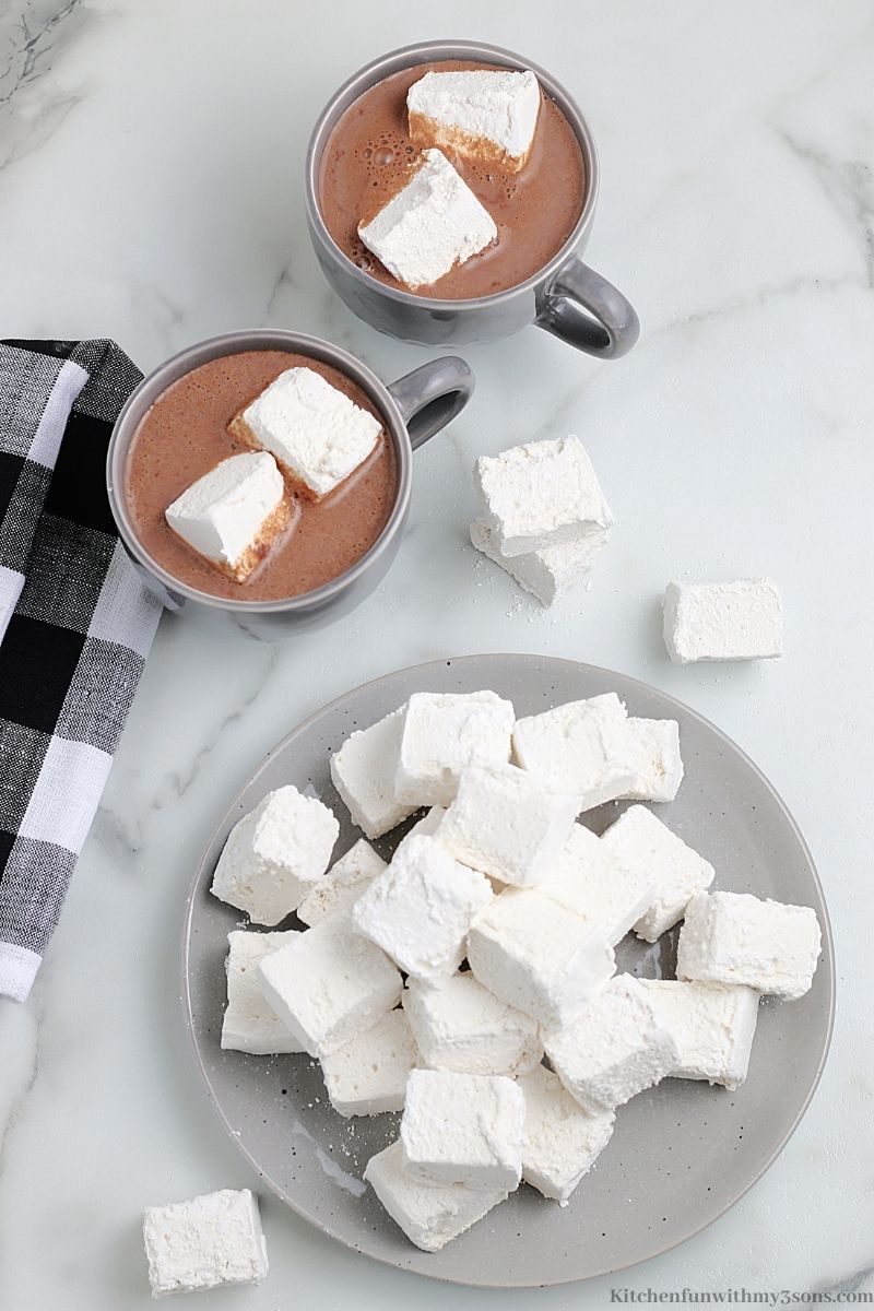 Downward view of the Homemade Marshmallows on a serving dish.
