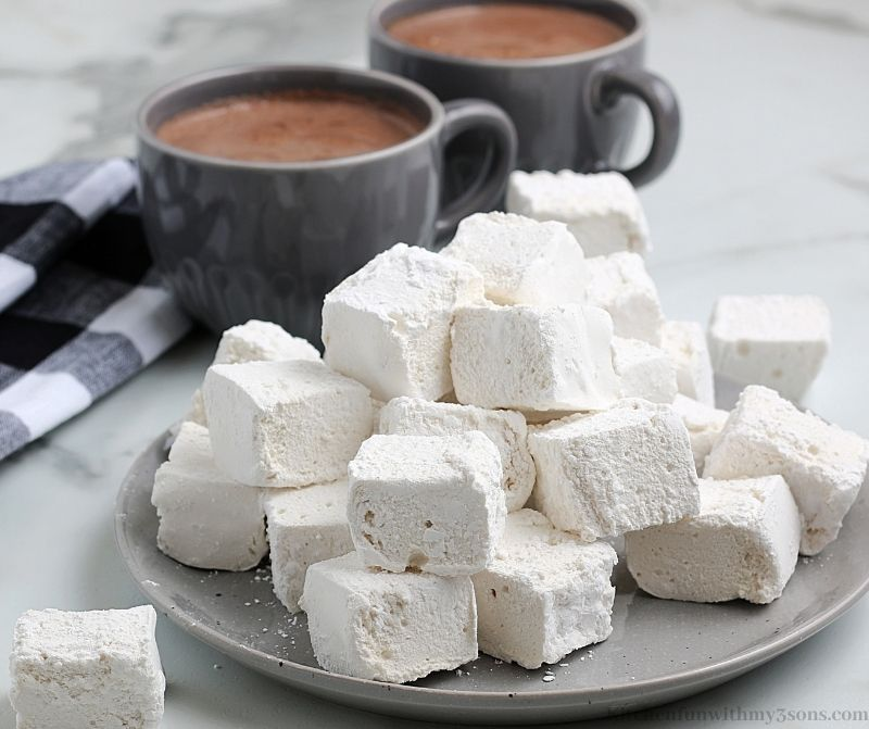 The marshmallows on a gray serving plate.