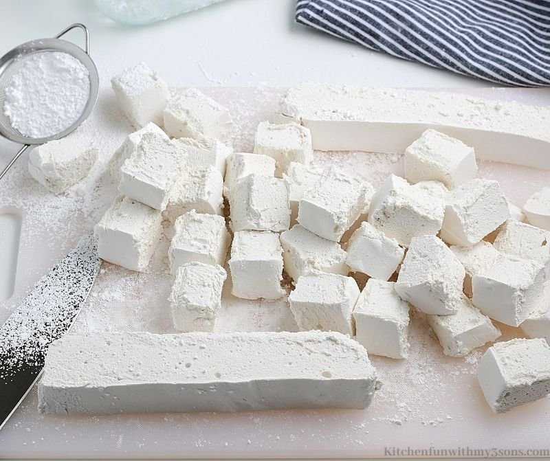 The finished marshmallows cut into cubes.