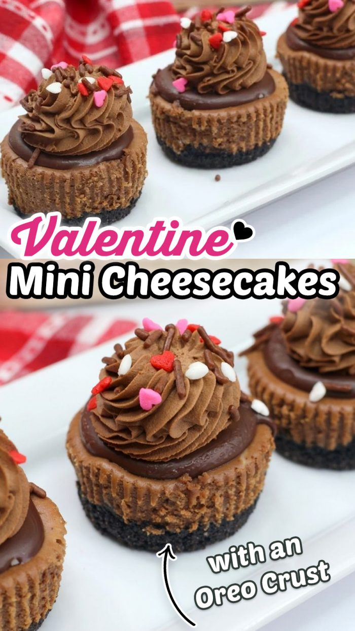 Valentine Mini Chocolate Cheesecakes with an Oreo crust, chocolate cheesecake and chocolate ganache. #valentinesday #cheesecake #chocolate #yummy #food #recipe