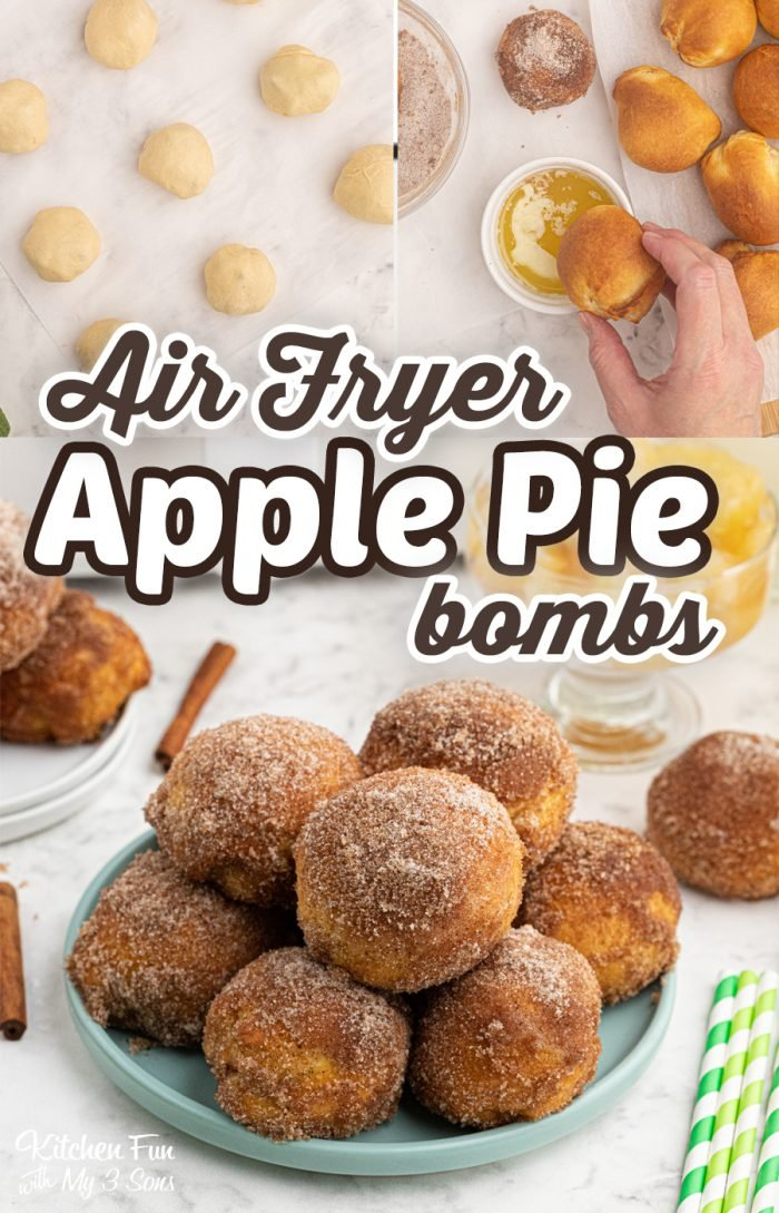 Air Fryer Apple Pie Bombs are tiny little bites of fried apple pie that you can pop in your mouth. They are so tasty when you serve them warm, fresh out of the Air Fryer! #applepie #airfryer #dessert #yummy #food #recipe