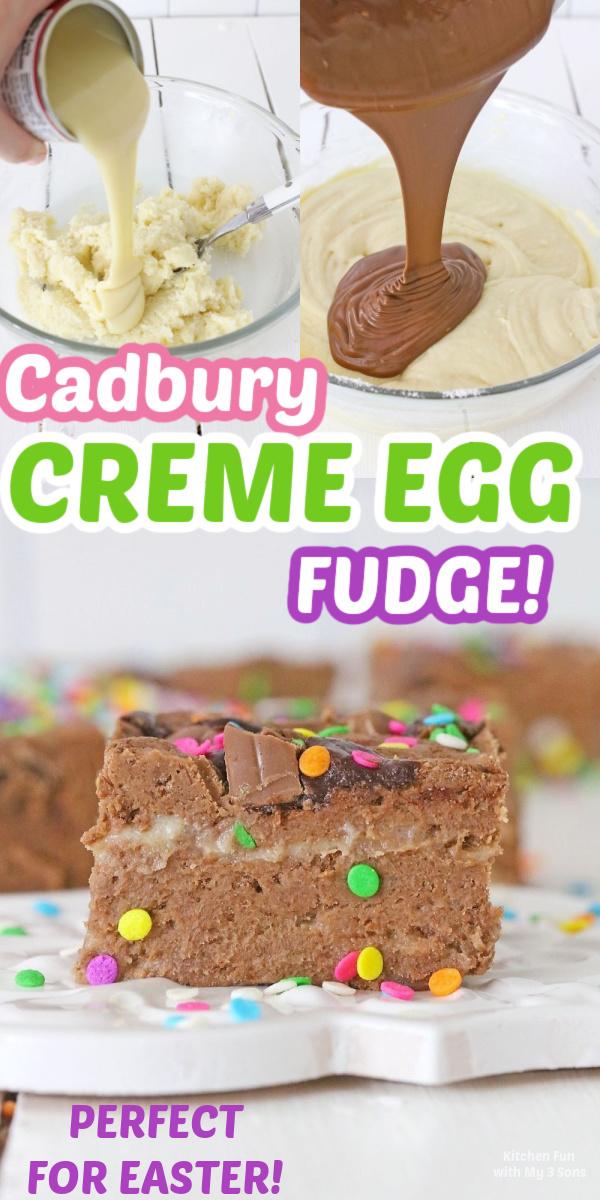 Decadent Cadbury Creme Egg Fudge on a white plate
