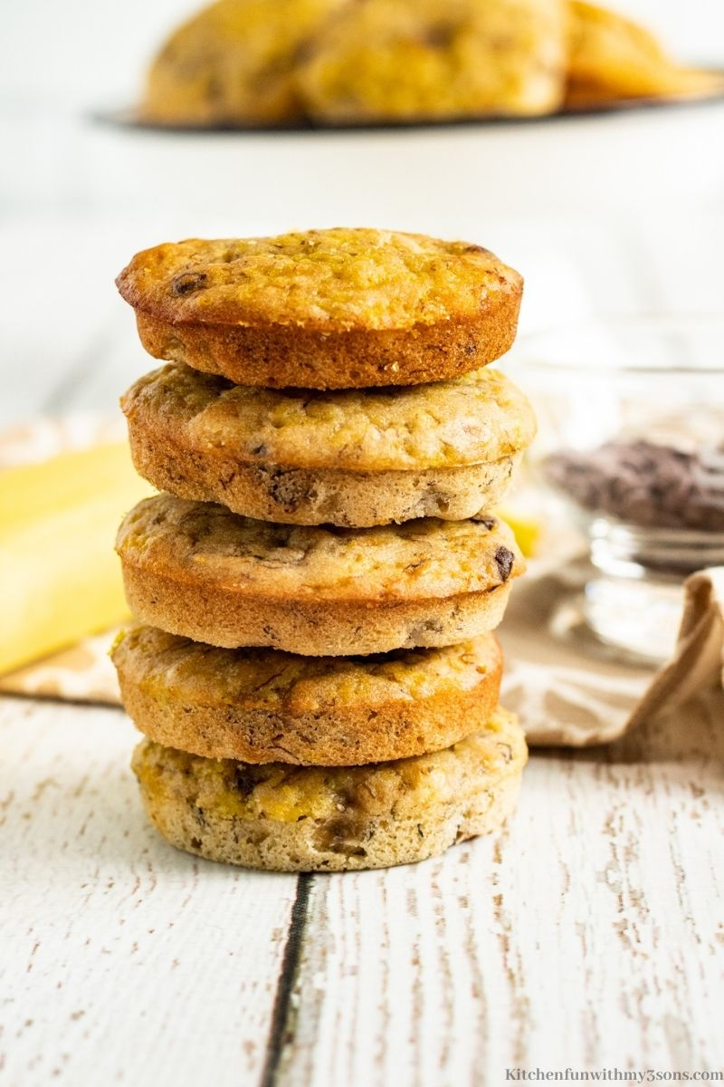 The Chocolate Chip Banana Muffin Tops stacked on top of each other.