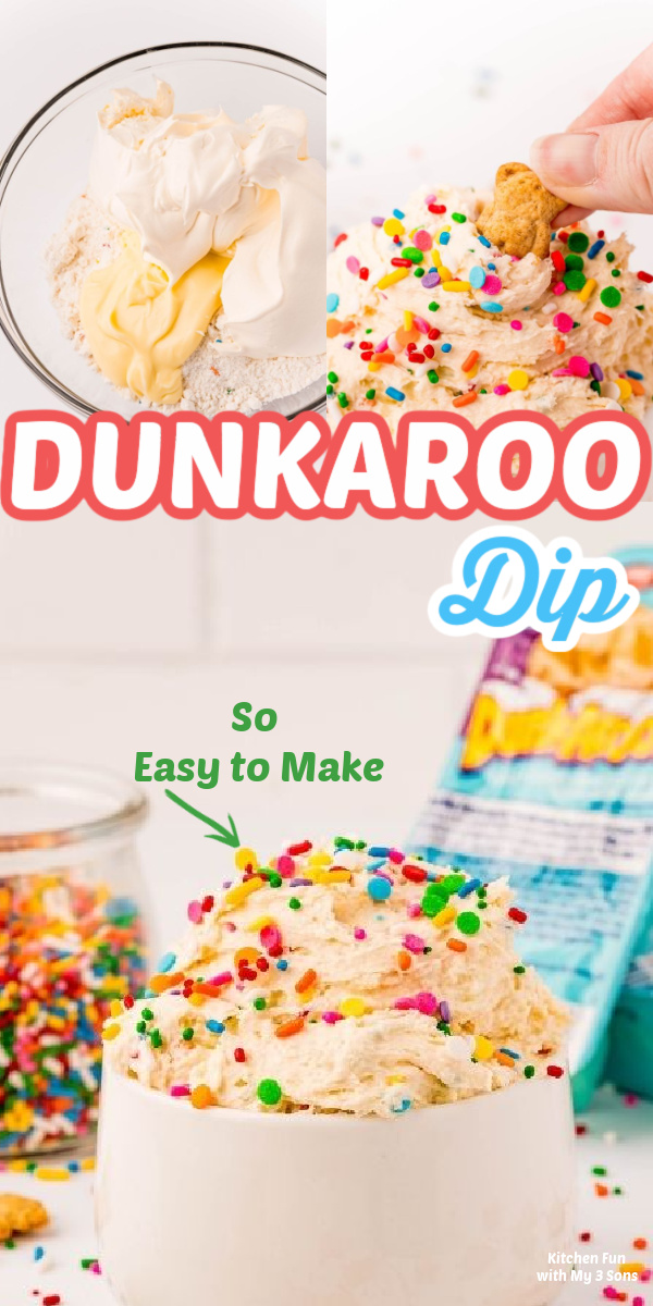 Dunkaroo Dip in a white bowl topped with sprinkles
