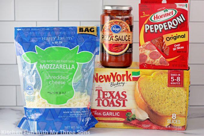 ingredients to make Garlic Bread Pizzas.