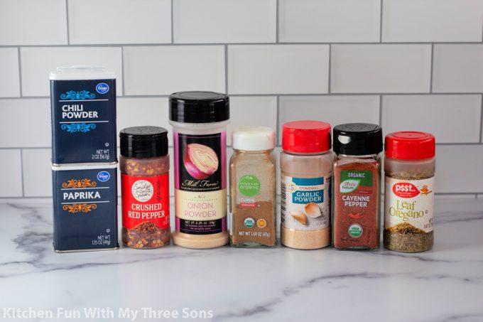 ingredients to make Homemade Taco Seasoning.
