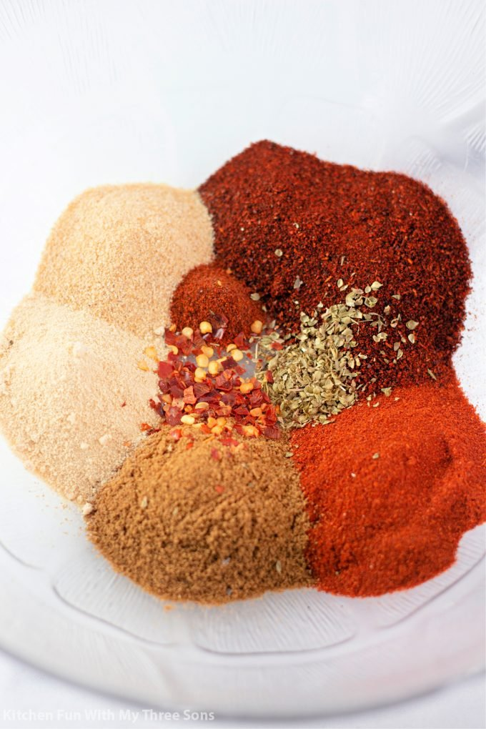 spices in a clear bowl.