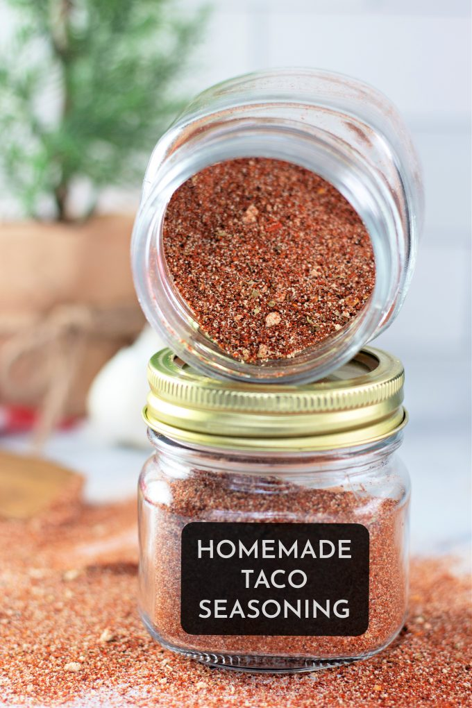 Homemade Taco Seasoning in jars with labels.