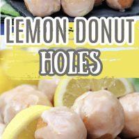 Lemon glazed donut holes on a gray slate board