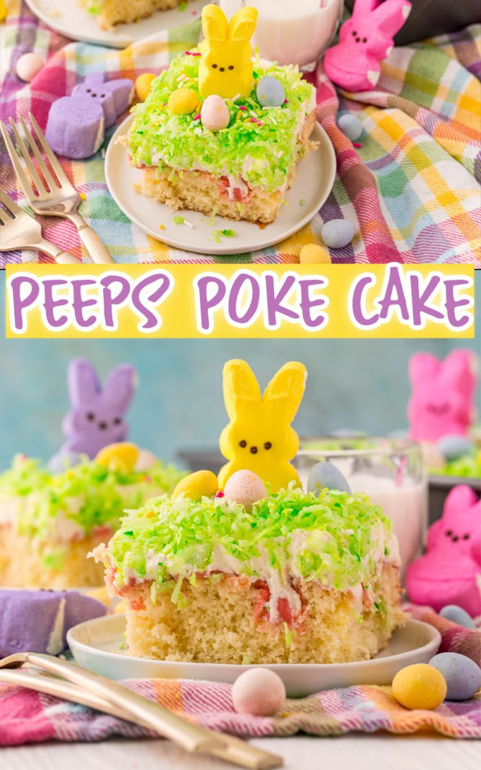 This Peeps Cake is a deliciously moist poke cake recipe full of flavor. Perfect for Easter, this is a dessert that everyone loves. #easter #peeps #cake #dessert #pokecake #dessert