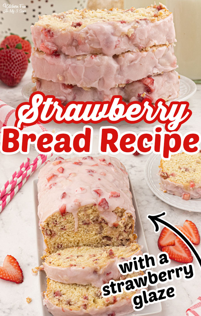 Strawberry Bread is a delicious homemade bread recipe with real strawberries baked inside. It's moist and soft and topped with a strawberry glaze.