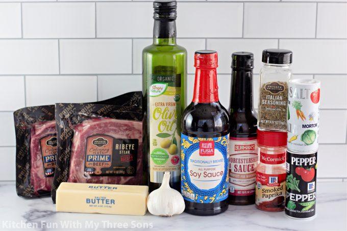 ingredients to make The Best Steak Marinade.