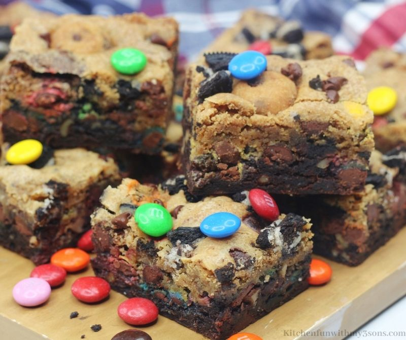Loaded Brookie Bars with extra M&M's on top.