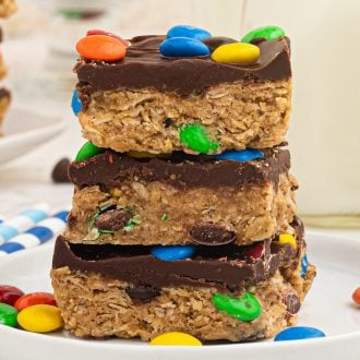 Monster Cookie Bars close up