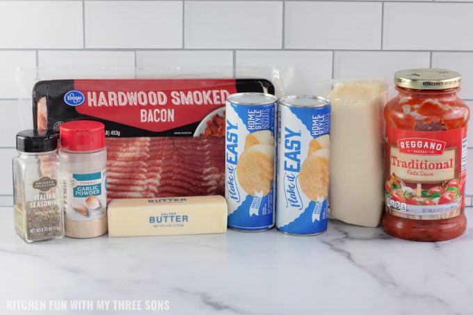 ingredients to make Cheesy Bacon Bombs.