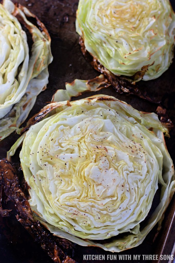 freshly baked cabbage steaks.