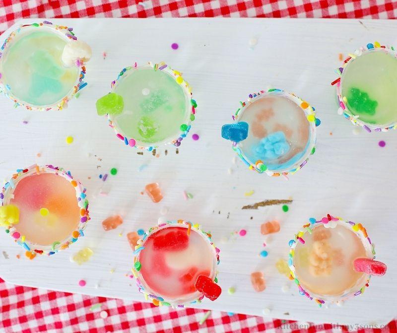The jello shots on a white board.
