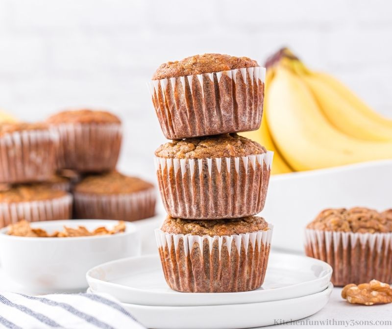 Three muffins stacked on top of each other.